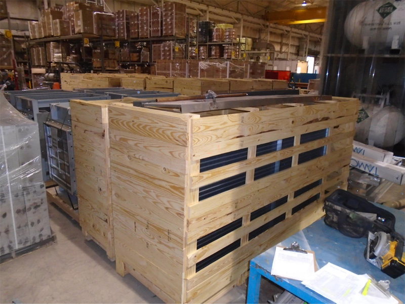 Example of how coils are crated for shipment