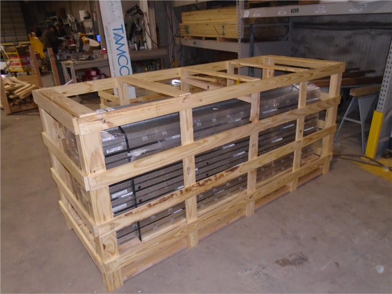 Example of crate of wall or roof panels